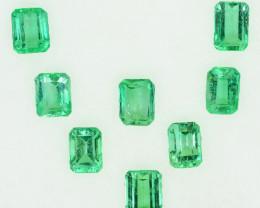 2.30 Cts Natural Vivid Green Colombian Emerald 8 Pcs Octagon Parcel