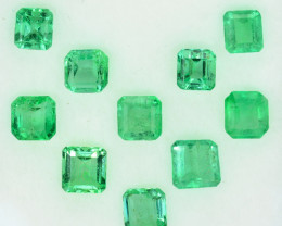 3.76 Cts Natural Vivid Green Colombian Emerald 10 Pcs Octagon Parcel