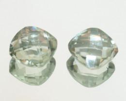 6.8 Ct Prasiolite  Cushion Pair  Square Faceted  cut 10mm.-(SKU 459)