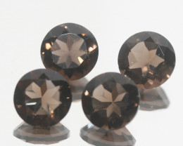 6.6 Ct Smoky Quartz Lot Faceted Round 8mm.-(SKU462)