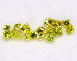0.26Ct Natural Princess Cut Vivid Neon Yellow Diamonnd Lot BM0363