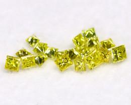 0.30Ct Natural Princess Cut Vivid Neon Yellow Diamonnd Lot BM0364