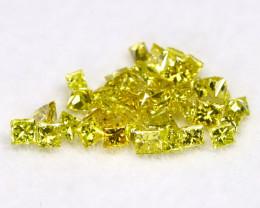 0.60Ct Natural Princess Cut Vivid Neon Yellow Diamonnd Lot BM0370