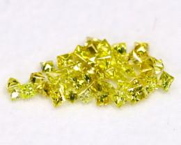 0.66Ct Natural Princess Cut Vivid Neon Yellow Diamonnd Lot BM0371