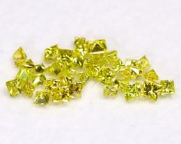 0.71Ct Natural Princess Cut Vivid Neon Yellow Diamonnd Lot BM0372