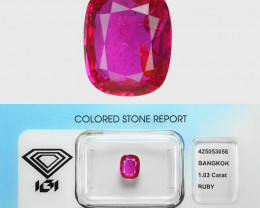1.03 Cts IGI CERTIFIED Un Heated Purplish Red Natural RUBY BURMA  Gemstone