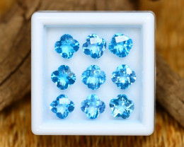 Swiss Topaz 7.64Ct Calibrated Flower 5x5mm Natural Blue Topaz Lot C2414