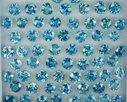 50.00 Cts Natural Silver Blue Zircon 5mm Round Cut 62 Pcs Cambodia