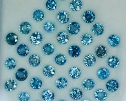 25.30 Cts Natural Silver Blue Zircon 4.50Round Cut 41 Pcs Cambodia