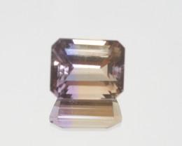 7.3 Ct Ametrine Faceted rectangular 12x10mm  Bicolor Quartz (SKU 474)