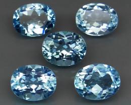 14.95 ct.  10 x 8 mm Natural Top Quality Swiss Blue Topaz Brazil - 5  Piece
