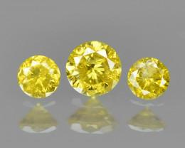 0.11 Cts 3 pcs Sparkling Rare Fancy Vivid Yellow Color Natural Loose Diamon