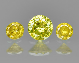 0.10 Cts 3 pcs Sparkling Rare Fancy Vivid Yellow Color Natural Loose Diamon