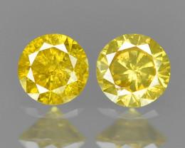 0.10 Cts 2 pcs Fancy Sparkling Rare Vivid Yellow Color Natural Loose Diamon
