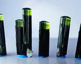 37.80 CT Natural - Unheated Green Cap Tourmaline Crystal Lot