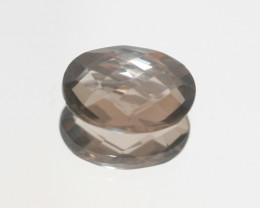4.8 Ct Smoky Quartz Cushion Oval faceted 14x10mm.-(SKU 488)