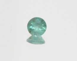 0.75 Ct Esmerald  Faceted Round 6mm.-Zambian.-(SKU 489)