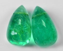 3.62 Cts 2pcs Pair Natural Vivid Green Zambian Emerald Loose Gemstone