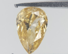 0.16 CTS , Pear Brilliant Cut Diamond , Champagne Yellow Diamond