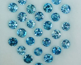 15.55Ct Natural Blue Zircon 4.50mm Round Calibrated Cambodia