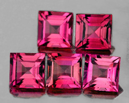 4.00 mm Square 5 pcs 1.93cts Reddish Pink Tourmaline [VVS]