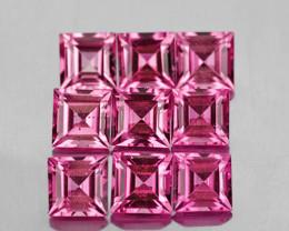 3.00 mm Square 9 pcs 1.23cts Pink Tourmaline [VVS]