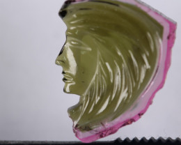 Turmalina 5.65 ct bicolor sandia cabeza de indio de la amazona origen Brasi