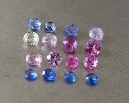 2.25ct unheated assorted colours sapphire
