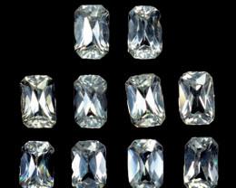 3.88 Cts Natural Sparkling White Zircon 5x3mm Radiant Cut 10Pcs Tanzania