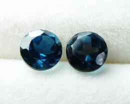 1.40 CT Natural - Unheated London Blue Topaz Gemstone Pair