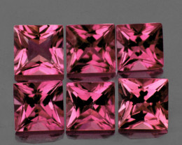 3.50 mm Square Princess 6 pcs 1.25cts Orange Pink Tourmaline [VVS]