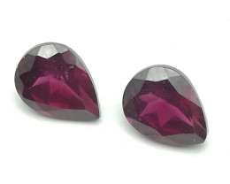 Rhodolite pair, pear cut, perfect colour unique gems!