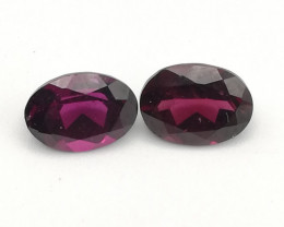 Rhodolite pair, 3.25ct, oval cut, very nice pieces!!