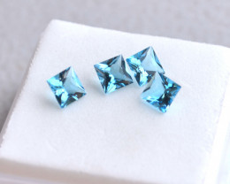 2.62 Carat Parcel of Fantastic Princess Cut Swiss Blue Topaz