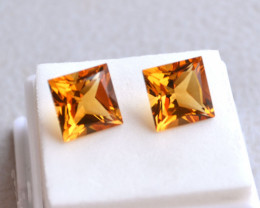 9.21 Carat Matched Pair of Princess Cut Citrine