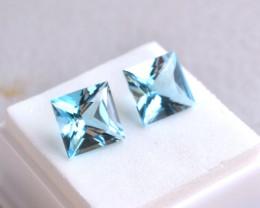 10.85 Carat Matched Pair of Princess Cut Sky Blue Topaz