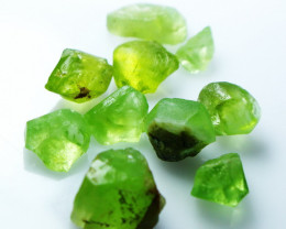 60.70 CT Natural - Unheated Green Peridot Rough Lot