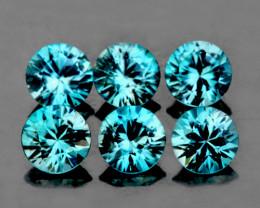 4.00 mm Round 6 pcs 2.37cts Blue Zircon [VVS]