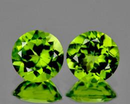 6.00 mm Round 2 pcs 1.70cts Green Peridot [VVS]