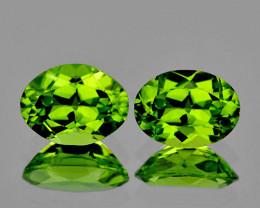 8x6 mm Oval 2 pcs 3.16cts Green Peridot [VVS]