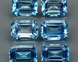10.90 ct. 100% Natural Earth Mined Top Quality Blue Topaz Brazil -6Pcs