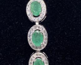 (2) Stunning 8.82tcw. Natural Rich Green  Emerald & CZ Bracelet