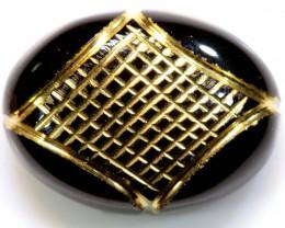 16 CTS BLACK ONYX   24K GOLD ENGRAVED  LG-845