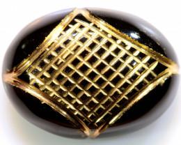 15.20 CTS  BLACK ONYX  24K GOLD ENGRAVED  LG-846