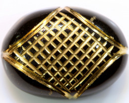 16.65 CTS BLACK ONYX  24K GOLD ENGRAVED  LG-848