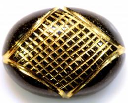 14.05 CTS  BLACK ONYX  24K GOLD ENGRAVED  LG-849