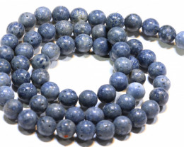 105 CTS  BLUE CORAL BEAD STRAND  LG-883
