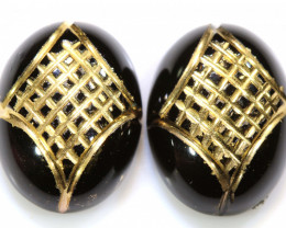 16 CTS BLACK ONYX  24K GOLD ENGRAVED(2 PCS )  LG-895