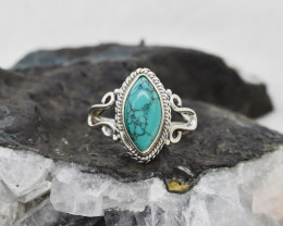 TURQUOISE RING 925 STERLING SILVER NATURAL GEMSTONE JR495