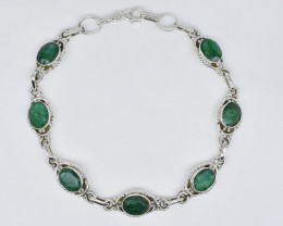 EMERALD BRACELET NATURAL GEM 925 STERLING SILVER JB247